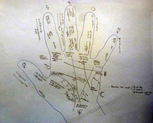 quiromancia, lectura de la mano, pasado, presente, futuro, adivinación.